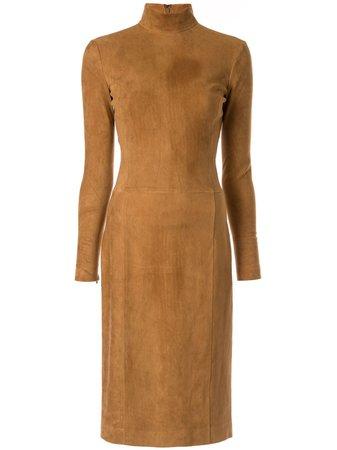 Ralph Lauren Collection Turtle Neck Dress 290760053001 Brown | Farfetch