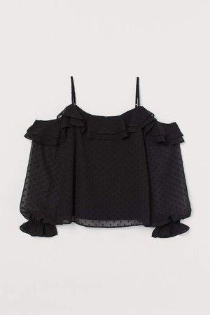 Open-shoulder Blouse - Black