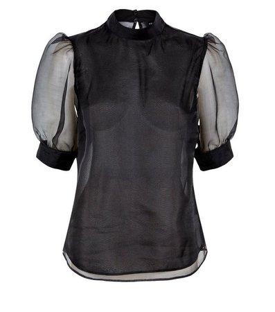 Black Organza Puff Sleeve Blouse | New Look