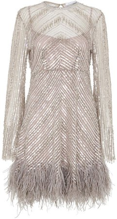 Eugenie Feather-Trimmed Beaded Dress
