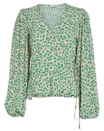GANNI | Floral Crepe Wrap Blouse | INTERMIX®