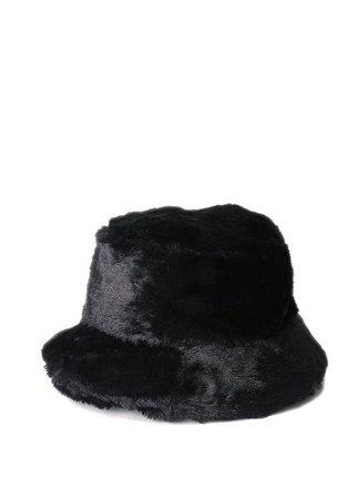 Faux Fur Fluffy Bucket Hat Black