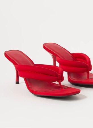 Pretty Little Thong Strap Mule Heels BLACK RED - GoJane.com
