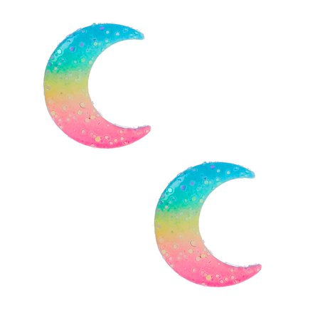 Silver Pastel Rainbow Moon Stud Earrings | Claire's US
