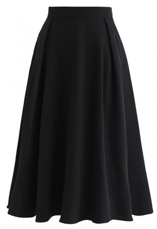 Side Zip Pleated A-Line Midi Skirt in Black - Skirt - BOTTOMS - Retro, Indie and Unique Fashion