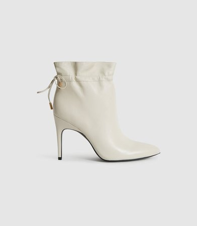 Russo White Leather Ruched Ankle Boots – REISS