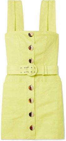 Belted Linen Mini Dress - Chartreuse