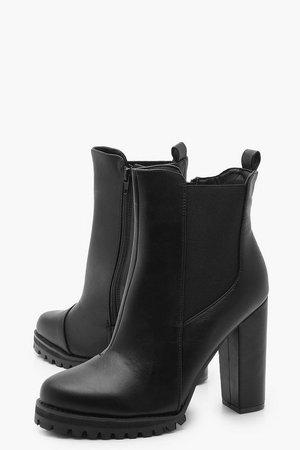 Cleated Platform Pull On Chelsea Boots | Boohoo