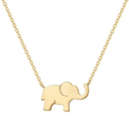 "Amazon.com: FANCIME Yellow Gold Plated Soldi Real 925 Sterling Silver High Polished Cute Mini Small Lucky Elephant Dainty Pendant Necklace For Women Girls Teens Friend Friendship Little Charm Gift, 16"" + 2"" Extender: Clothing"