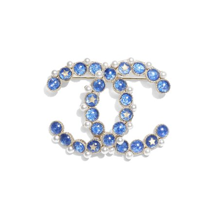 Metal, Glass Pearls & Resin Gold, Blue & Pearly White Brooch | CHANEL