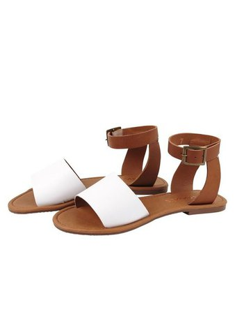 shoes, sandals, white, brown, leather, tan, sandals, beach, festival, summer, buckles, buckles, straps - Wheretoget