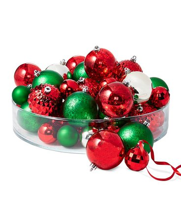 Holiday Lane Christmas Cheer Shatterproof Red, Green & Gold Ornaments, Set of 50, Created for Macy's & Reviews - Holiday Shop - Home - Macy's