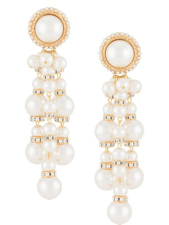 Alessandra Rich, Pearl Cascade clip-on Earrings