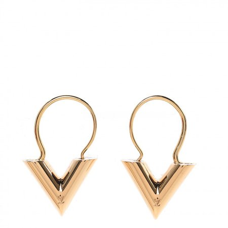 LOUIS VUITTON Essential V Hoop Earrings Gold 467534