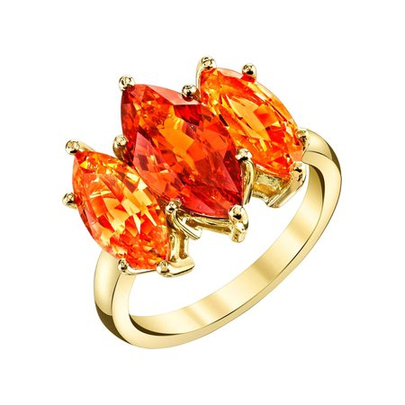 Sarosi By Timeless Gems 3.39 Carat 3-Stone Marquise Cut Spessartite Garnet 18k Yellow Gold Cocktail Ring