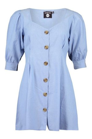 Mock Horn Button Denim Denim Shift Dress | boohoo blue