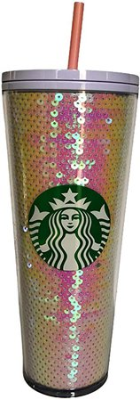 Amazon.com | Starbucks Pink & White Sequin Glitter Cold Cup Tumbler Holiday 2020 - 24oz: Tumblers & Water Glasses