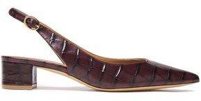 Croc-effect Leather Slingback Pumps