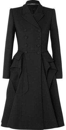 Ruffled Wool-blend Cady Coat - Black