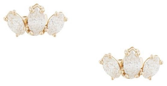 NATALIE MARIE 14kt Gold Diamond Sun Earrings