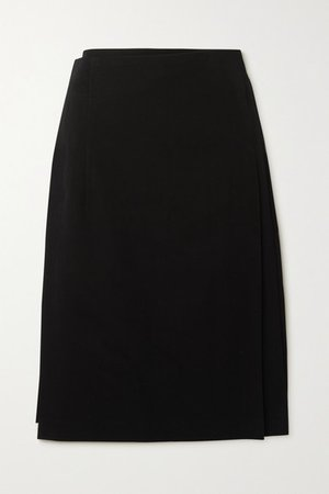 Belted Pleated Wool Midi Skirt - Black