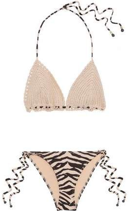 Melody Crocheted Cotton And Zebra-print Triangle Bikini