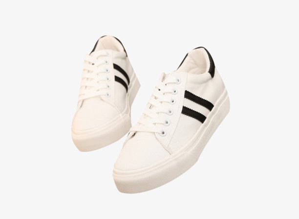 Black Striped Small White Shoes Free Hair Material, Shoes Clipart, Small White Shoes, White Student Shoes PNG Image and Clipart for Free Download