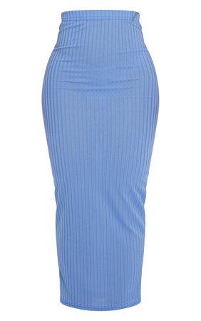 Dusty Blue Rib Bodycon Maxi Skirt | Skirts | PrettyLittleThing USA