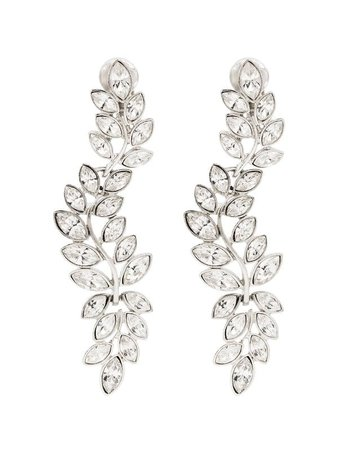 Kenneth Jay Lane silver-tone Crystal Drop Clip Earrings - Farfetch