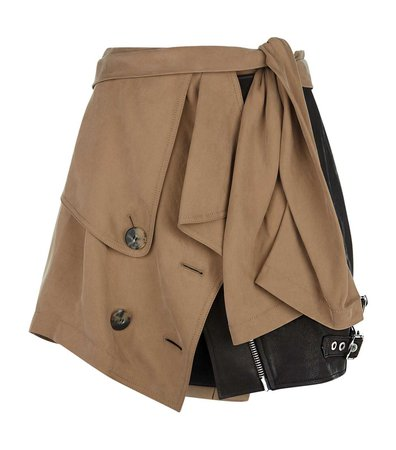 alexander wang trench combo leather mini skirt