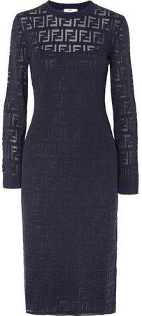 Intarsia-knit Midi Dress - Navy