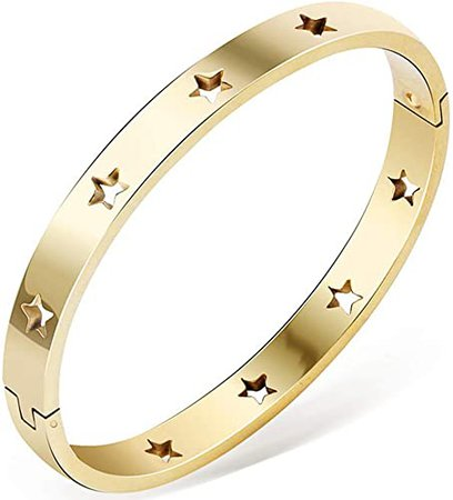 Amazon.com: Jude Jewelers Stainless Steel Stars Open Clasp Classical Plain Bangle Bracelet (Gold): Jewelry