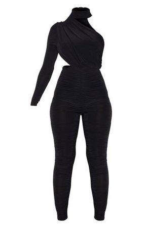 Black Ruched One Shoulder Jumpsuit   PrettyLittleThing