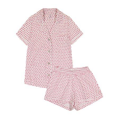 Women's Hearts Polo Pajama Set, Pink - What's New Shops Mommy & Me Shop - Maisonette
