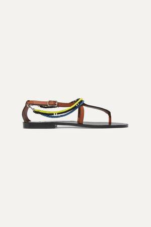 Paula's Ibiza Embellished Leather Sandals - Tan