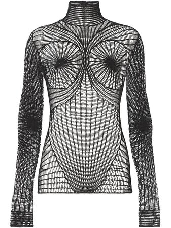 Burberry fishnet high neck top black 4568011 - Farfetch