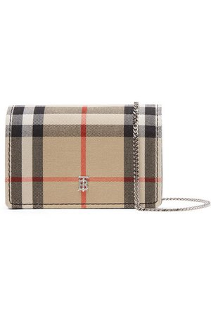 Burberry | Checked canvas and leather shoulder bag | NET-A-PORTER.COM