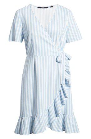 VERO MODA Helenmilo Stripe Wrap Front Linen Blend Dress | Nordstrom