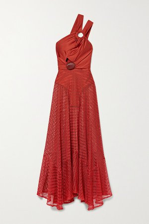 Embellished Satin-jersey And Crochet-knit Maxi Dress - Red