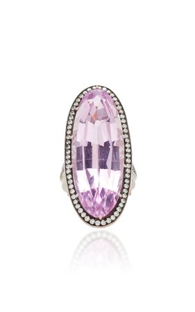 18K White Gold, Kunzite And Diamond Ring by Sylva & Cie | Moda Operandi