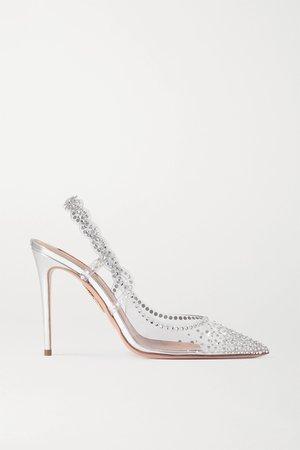 Silver Heaven crystal-embellished PVC slingback pumps | Aquazzura | NET-A-PORTER