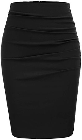 GRACE KARIN Womens Elegant Ruched Knee Length Slim Fit Business Skirt