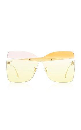 Rimless Square-Frame Metal Sunglasses by Fendi   Moda Operandi