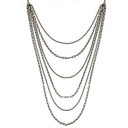 Black-Tone and Gold-Tone 6-Strand Layered Chain Necklace