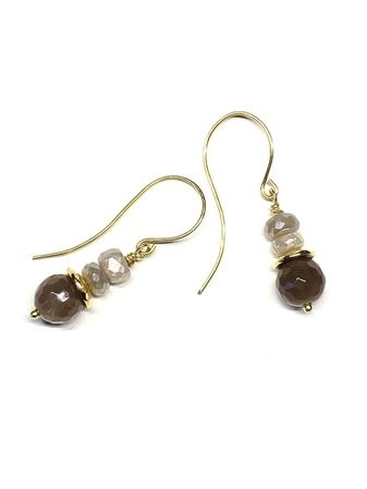 Chocolate and gold moonstone earrings Stacked brown gemstone | Etsy