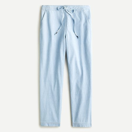 J.Crew: Tie-waist Seaside Pant In Chambray For Women