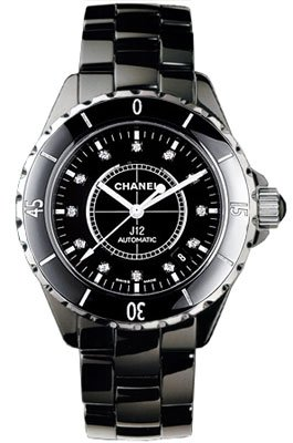H1626 J12 Chanel Ceramic Black Diamond Dial Ladies Automatic Watch.