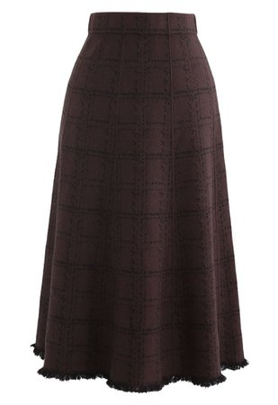 Grid Fringe Hem Knit Skirt in Brown - Retro, Indie and Unique Fashion