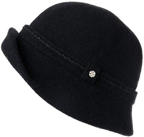 Fancet Womens 60% Wool Blend Derby Hat 1920s Vintage Bucket Fall Winter Bowler Cloche Beret Black at Amazon Women's Clothing store