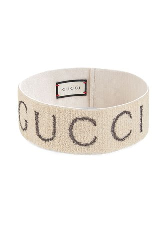 Gucci White Stretch Knit Logo Headband | Farfetch.com